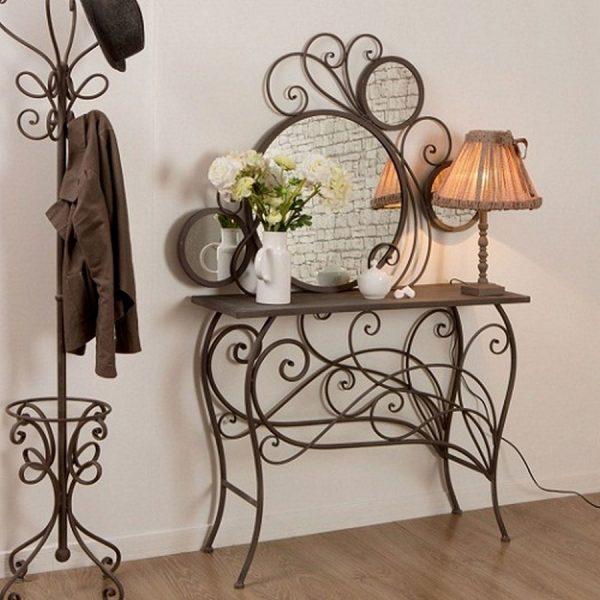 Кованый столик с зеркалом